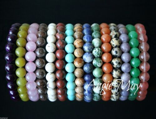 Wholesale 10 GEMSTONE 7 inches Crystal Healing Stretch Bracelets 8mm Round Bead