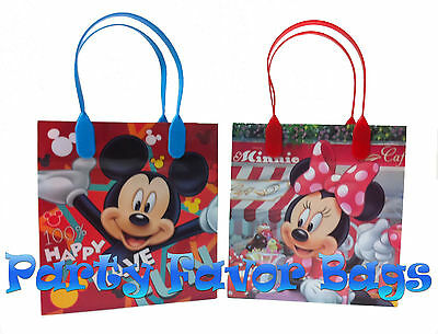 12 pc Mickey Minnie Mouse Party Favor Bags Candy Treat Birthday Durable Loot Bag - Mickey Treat Bags