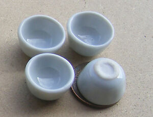 1-12-Scale-4-White-Ceramic-Bowls-Dolls-House-Miniature-Kitchen-Accessory-W9p