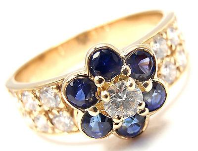Authentic! VAN CLEEF & ARPELS 18k Gold Diamond Sapphire Fleurette Flower Ring