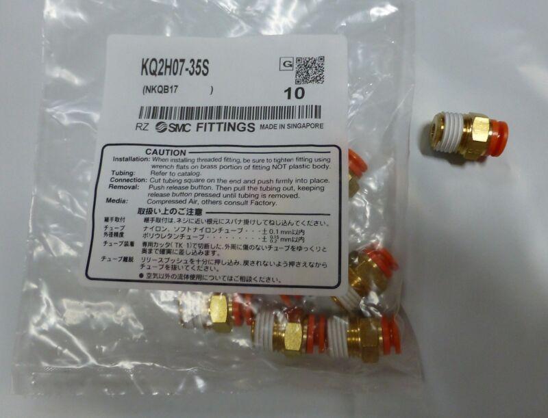 "10 pack SMC Fittings KQH07-35S Male 1/4"" NPT x 1/4"" tube"