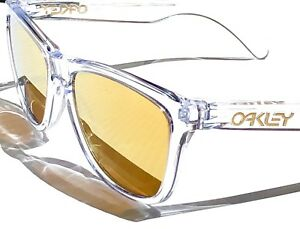 Oakley Frogskins Clear Crystal w 24K GOLD Fire Iridium Sunglass oo9013-A3