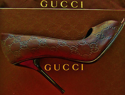 Brand New w Box ! GUCCI Guccissima Logo Leather Sexy Stiletto  Pump Shoe 40.5M