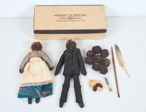Vintage Dried Apple Head Dolls Primitive Folk Art with Extras