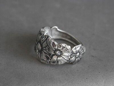 Spoon Ring Sterling Silver Art Nouveau Flower Size 11 1/2 Poppy Flower Antique
