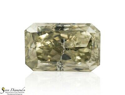 Diamond Natural Color Fancy Greenish Gray 1.43 ct carat Loose Radiant Cut NO GIA