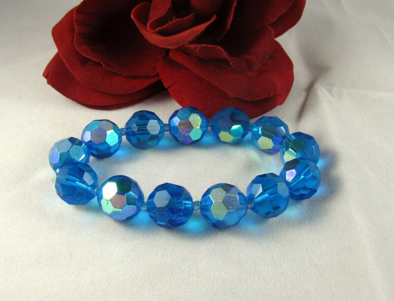 Gorgeous Faceted Blue AB Glass Beaded  Bracelet FERAL CAT RESCUE