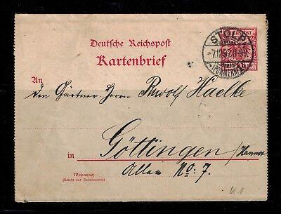 Ganzsachen Deutsches Reich Kartenbrief K 1 3-teilig Stolp und Göttingen  -int.87