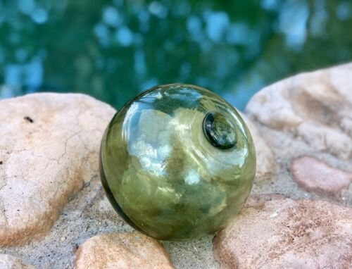 Japanese Hand-Blown Small Green Glass Fishing Float 5""
