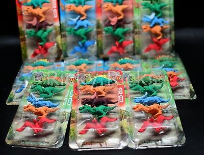 60 Dinosaur Erasers Toys Party Bag Fillers Favors Jurassic T-Rex Teacher Rewards - Dinosaur Party