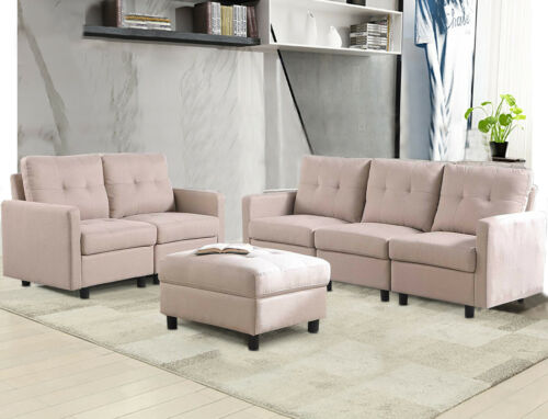 7-Piece Modular Sectional Sofa Modern Living Room Linen Couch With Back Cushion  6