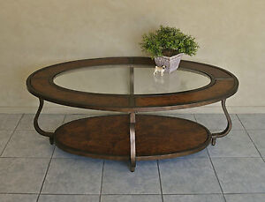 ELEGANT OVAL COFFEE / SIDE TABLE ~ BURR WALNUT INLAY & INSET BEVELLED GLASS TOP