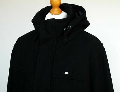 "Lacoste Black Wool Mix Hooded Jacket - XL/XXL - 50"" - Ska Mod Scooter Terraces"