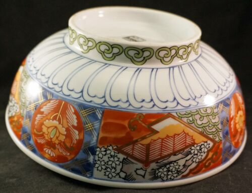Lovely Japanese Porcelain Bowl with Painted Scenery Floral Design Signed