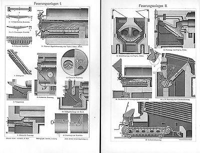 Feuerungsanlagen I-III Heizung Gas Kohle Holz Brennstoffe  Stich v. 1906