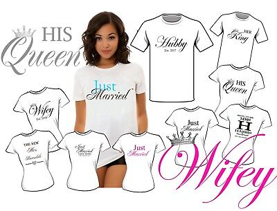 WIFEY HUBBY KING QUEEN JUST MARRIED  IRON ON T-SHIRT  TRANSFER 2018