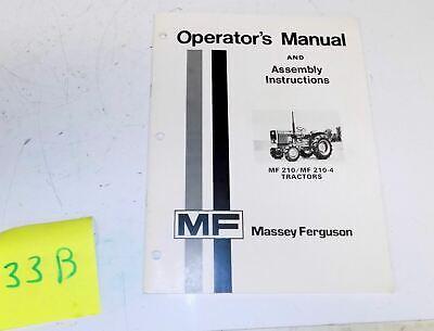 Massey Ferguson Mf210 Mf210-4 Tractor Owner Operators Manual