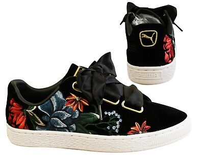 Puma Basket Heart Hyper Embroidery Black Velvet Womens Trainers 366116 01 Y46B