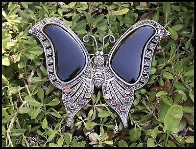 Vintage Stunning HUGE Sterling Silver Marcasite Onyx Gemstone Butterfly Brooch