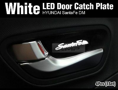 Promotion White LED Inner Door Catch Handle Plate 4P For HYUNDAI 13-17 Santa Fe