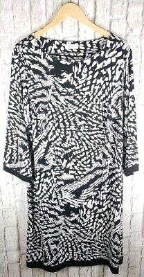 Calvin Klein Black White Poly Dress Sz 18W 20W 2X Plus Womens Nice Comfy #
