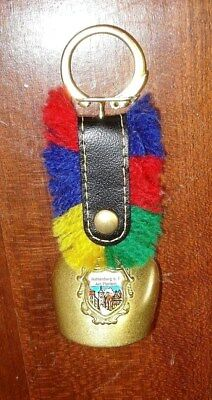 Vtg German Brass Cow Bell Flowers Embossed enameled crest Leather Strap keychain](Cowbell Keychain)