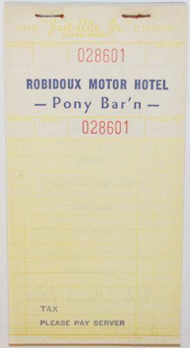 Vintage receipt pad ROBIDOUX MOTOR HOTEL Pony Bar