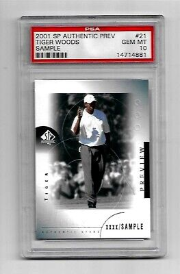 2001 Upper Deck Golf SP Authentic PREVIEW TIGER WOODS ROOKIE card RC # 21 PSA 10