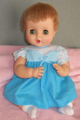 Aqua Polkadots Doll Dress fits vintage 16-18 inch Babydolls, Old Store Stock