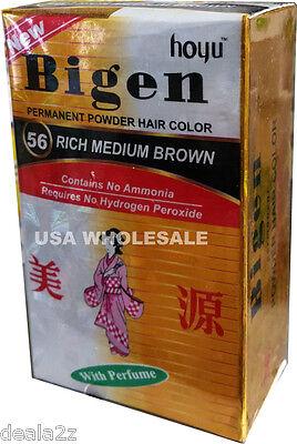 #56 Rich Medium Brown Bigen Hair Dye Powder Color No Amonia