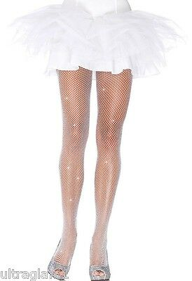 WHITE-Silver GLITTER FISHNET PANTYHOSE/TIGHTS/CROSSDRESSER/DRAG QUEEN/ Ivory - Glitter Pantyhose