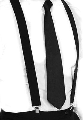 Hosenträger und Krawatte Set -Y Form 25mm 3 Clips Herren Krawatte Schwarz ()