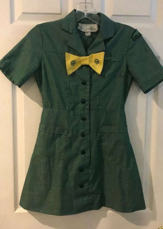 Vintage Junior Scout Uniform Dress Girl Scout Size 7 With Yellow Bow