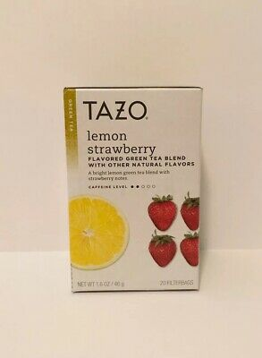 TAZO Lemon Strawberry Flavor Green Tea 20 Filterbags Discontinued Best By 02/20