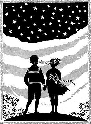 Children 4th of July Patriotic silhouette  Quilting Fabric Block