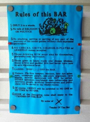 "Vintage ""Rules of this Bar"" Comical Poster Advertisement Pirate Font / Theme 20"""