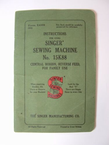 Singer 15K88 Sewing Machine Manual SHIPS FREE elehosp
