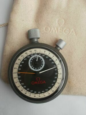 Omega stop watch vintage split second hand black two tone dial cronometer