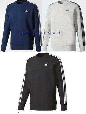 MENS ADIDAS ORIGINAL ESSENTIAL SWEAT SHIRT CREW NECK JUMPER 3 STRIPE SPORTSWEAR