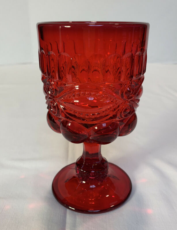 L. G. Wright Pressed Glass EYEWINKER Ruby Red Goblet