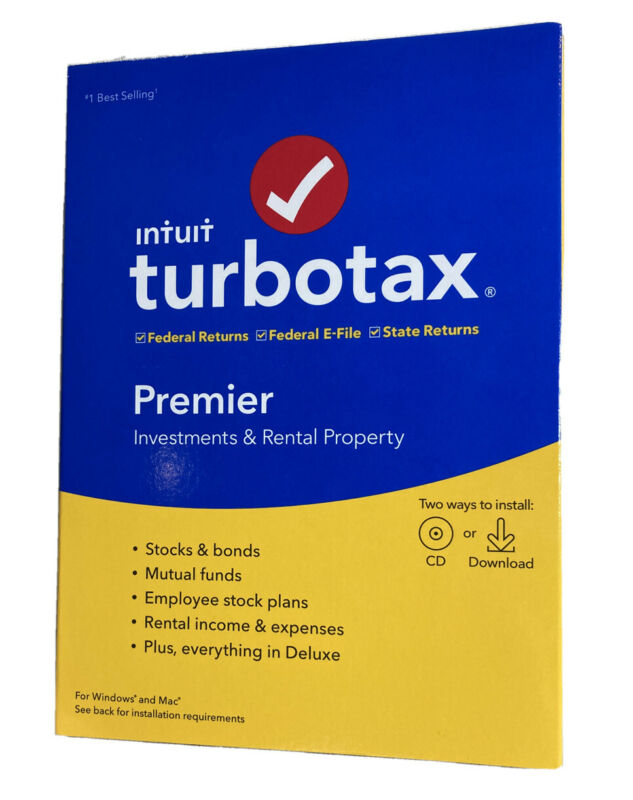 Intuit turbotax Premier 2019 investments rental property cd + download new