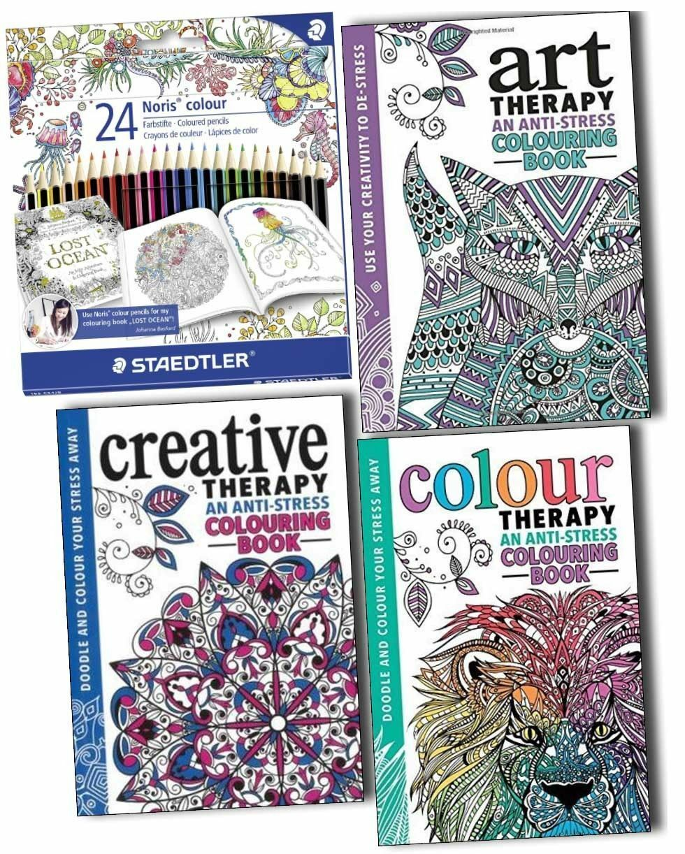 Art therapy coloring book and pencils - Art Colour And Creative Therapy Anti Stress Colouring 3 Books Collection Pack Paperback With
