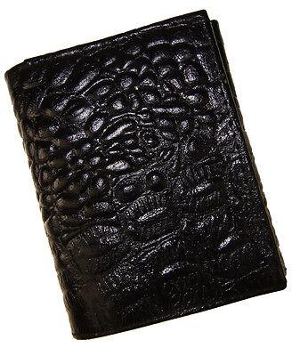 BLACK MENS GENUINE LEATHER 11+ CARDS ID ID TRIFOLD WALLET FLAP CROCODILE PRINT
