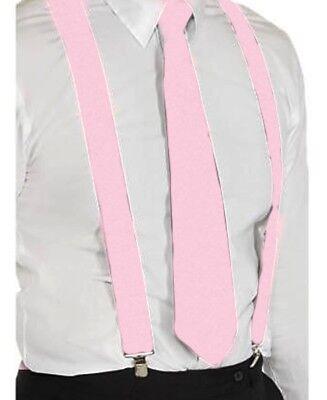 Hosenträger und Krawatte Set -Y Form 25mm 3 Clips Herren Krawatte Rosa ()