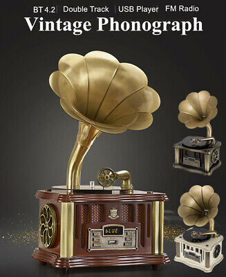 bluetooth Gramophone Phonograph Brass Horn Vintage Wind up FM HIFI speaker U1A2