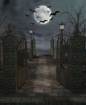 10X10FT Halloween Spooky Cemetery Scenic Vinyl Studio Backdrop Photo Background - Halloween Spooky Backgrounds