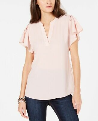 NEW Michael Kors Women Bell Short Sleeve Lace-Up Slit V-Neck Chiffon Top Rose L