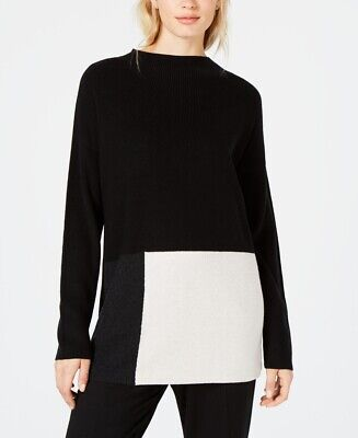 - EILEEN FISHER $258 NEW 24731 Colorblocked Mock-Neck Sweater Womens Top S