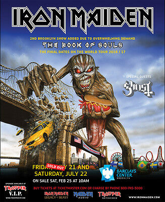 """IRON MAIDEN / GHOST """"BOOK OF SOULS WORLD TOUR 2016/17"""" BROOKLYN CONCERT POSTER"""