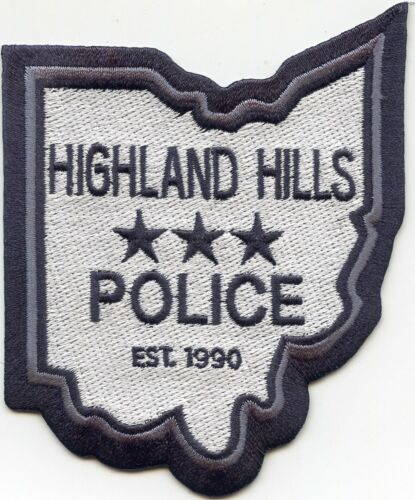 HIGHLAND HILLS OHIO OH State Shape Shaped POLICE PATCH